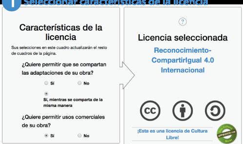 1 Seleccionar las características de la licencia
