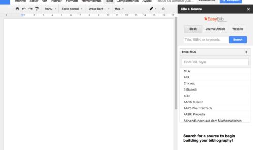 Detalle de un documento de GoogleDocs con EasyBib